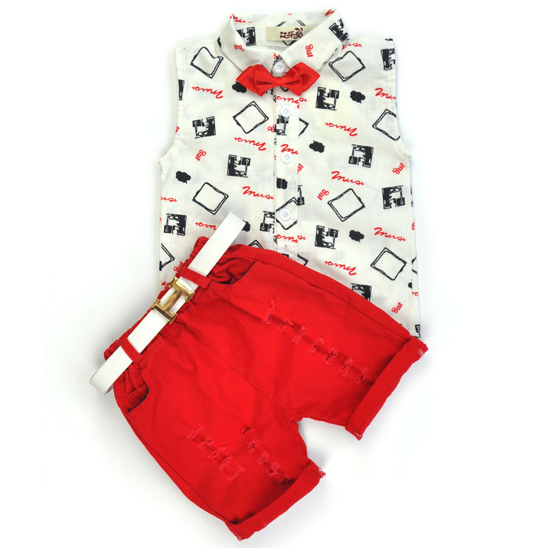 Boys Clothing Sets 2016 New Summer Fashion Style Kids Clothing Sets Print Shirt+Red Pants+Belt 3Pcs for 2-6 years Boys Clothes