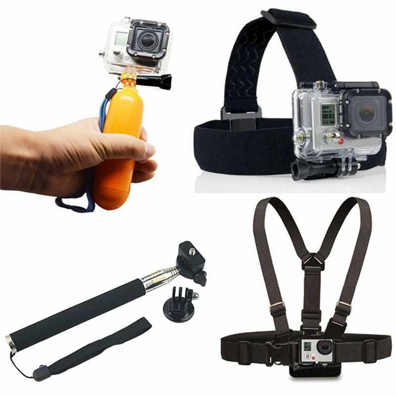 Action Stick Monopod+Chest Strap+Head Strap Mount+Bobber Floating For Gopro Hero7 6 5 4 3+3 For Xiaomi Yi Sj4000 Sj5000 Sj6000