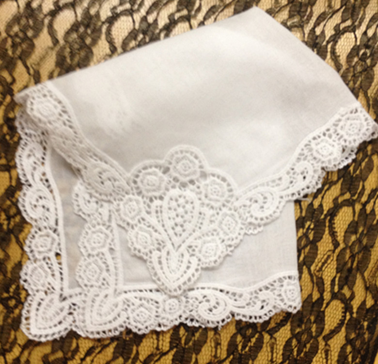 Set Of 12 Fashion Ladies Handkerchiefs 12-inch Cotton WEdding Handkerchief Sweet Heart Hanky Vintage Lace Hankie For Bridal Gift
