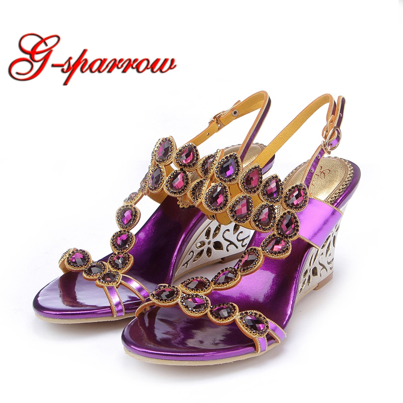 Plus Size 44 Summer Sandals 2018 Korean STyle Luxury Rhinestone Wedge Heel Women Shoes Crystal Wedding Party High Heel Shoes plus size leisure beach espadrille wedge heel sandals