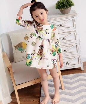 6501 D Новое поступление платья для малышек платье принцессы милый хлопок детская одежда 2018 Весеннее платье для маленьких девочек птица с цве...