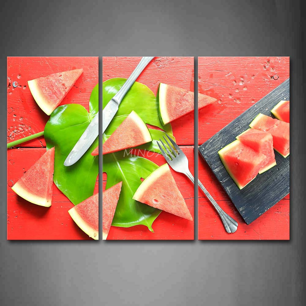 3 Piece Red Wall Art Painting Watermelon Green Leaf And font b Knife b font Fork