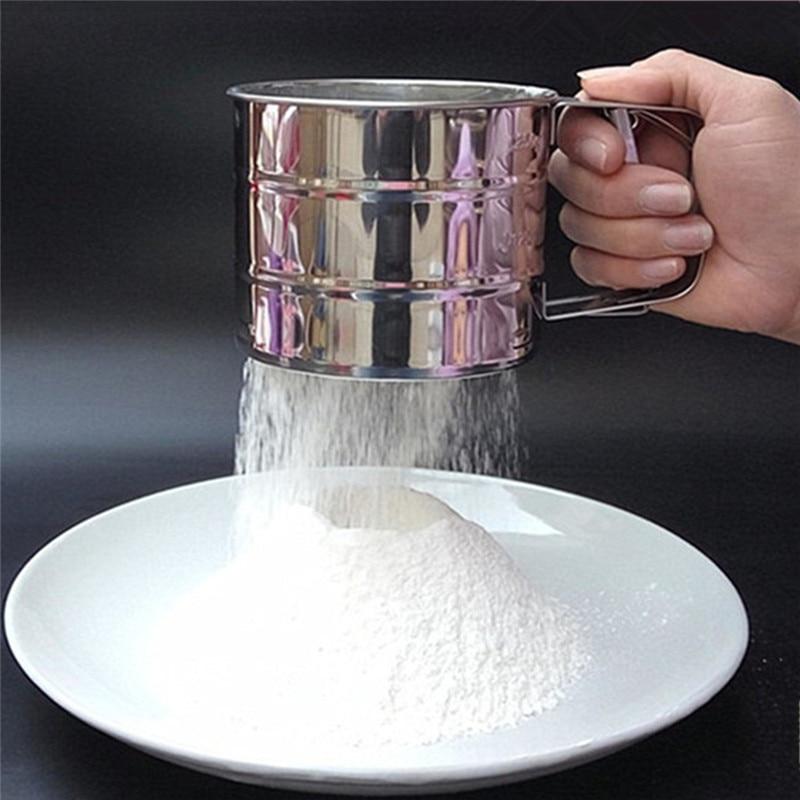 Stainless Steel Sieve Cup Powder Flour Sieve Mesh Knife
