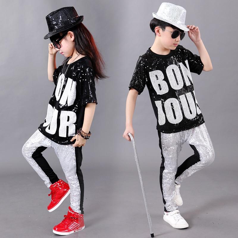 2016 Trendy Children's Costumes Gorgeous Twinkling Sequined Kids Jazz Dance Clothes Set Letter Design Boys Girls Hip-hop Suit