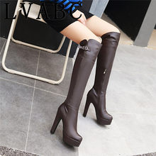 2018 grande taille 33-43 dames genou bottes hautes femmes mince talons hauts chaussures femmes bottes d'hiver fermeture éclair boucle sangle chaussures plate-forme