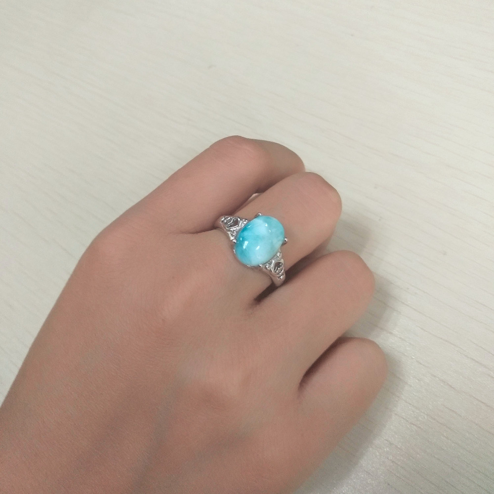 Fashion Girls Rings with Blue Larimar Gems Crystal, Fine Jewelry 925 Sterling Silver Woman Real Larimar Gemstone Ring for PartyFashion Girls Rings with Blue Larimar Gems Crystal, Fine Jewelry 925 Sterling Silver Woman Real Larimar Gemstone Ring for Party
