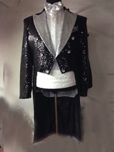 Free shipping mens full sequined black swallowtail jacket tuxedo silver collar this is only jacket