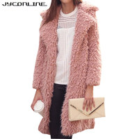 European Style Women Faux Fur Coat Jacket Winter Fur Coat Female Wide Waisted Long Sleeve Lamb
