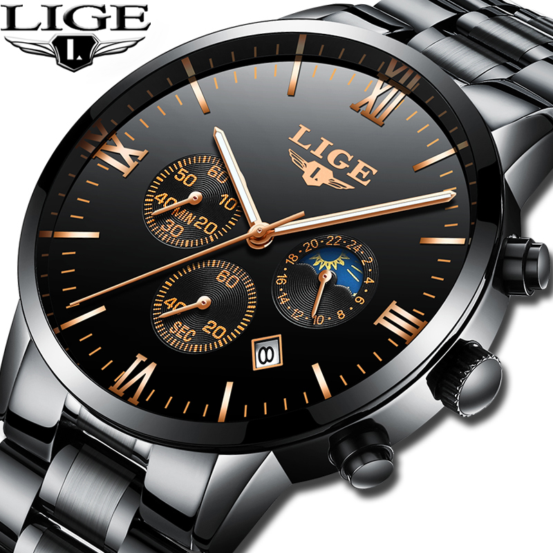 LIGE Watch Men Fashion Sport Quartz Clock Mens Watches Top Brand Luxury Full Steel Business Waterproof Watch Relogio Masculino professional electric hair care styling automatic hair curler tools pro spiral curling irons magic plastic hair curler rollers