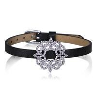 New Đai Da Cổ Tay Thiết với Zirconia Khối Bracelet đối với Phụ Nữ Thời Trang Jewelry Vận chuyển Miễn phí