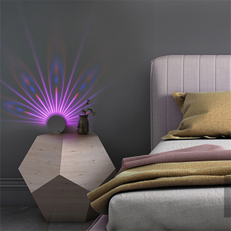 Novel Colorful Peacock Projection Lamp Touching Remote Control Changeable Night Lamp Shipping