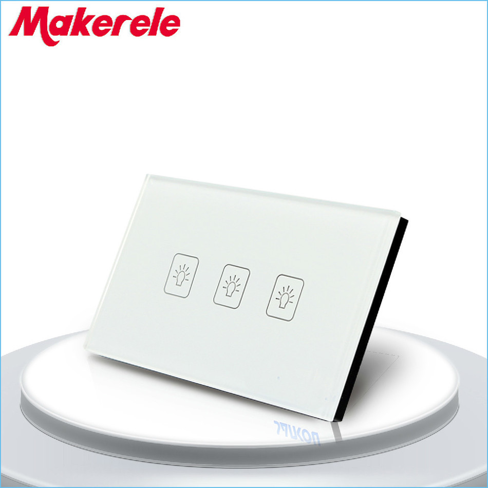 US Standard 3 Gang 2 Way Touch Switch White Crystal Glass panel wall socket for lamp us 3 12