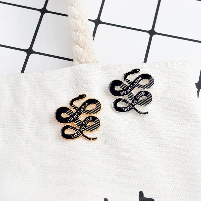 Black Dark Snake Pins <font><b>DO</b></font> NO HARM TAKE NO SHIT Gold Silver Brooch Pins Buckle <font><b>Denim</b></font> Jacket Shirt Collar Pin Badge Jewelry Gift
