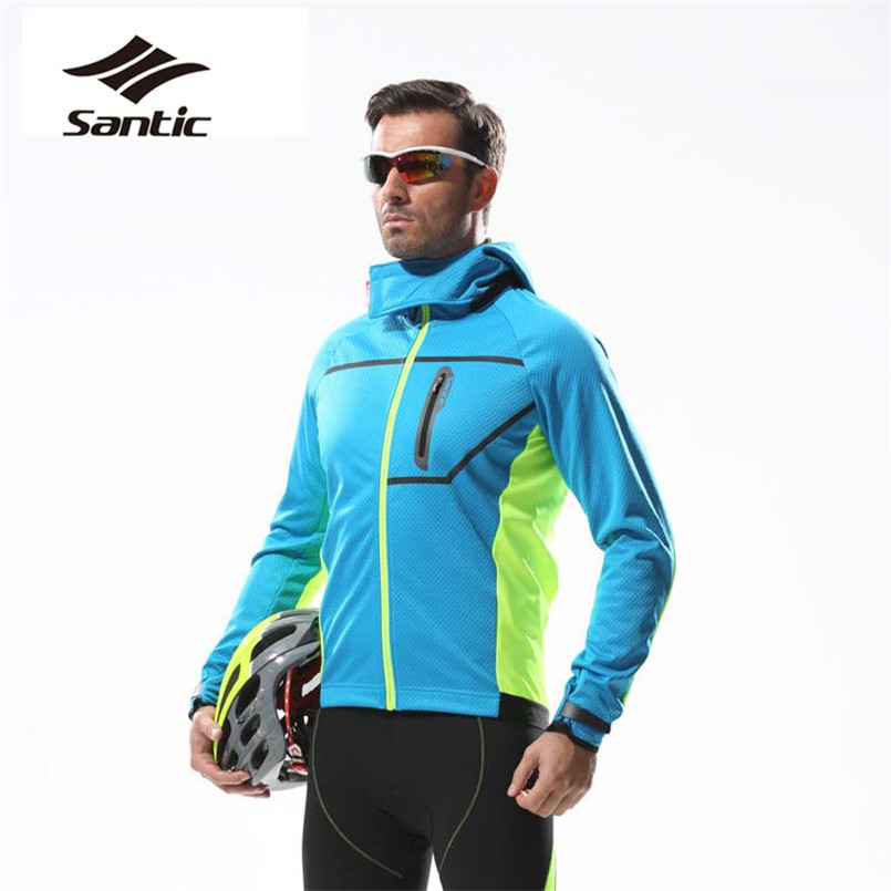 Santic Autumn Winter Cycling Jacket Men Long Sleeve Fleece Wind Coat Keep Warm Bicycle Bike Jacket MTB Downhill Windproof Jacket santic cycling pants road mountain bicycle bike pants men winter fleece warm bib pants long mtb trousers downhill clothing 2017