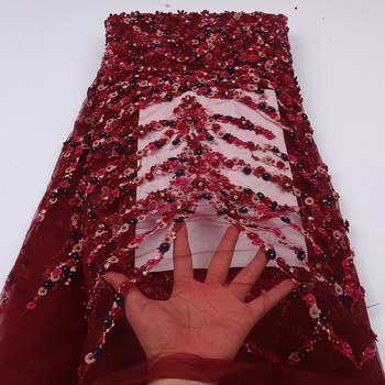 Red Nigerian Wedding Fabric Lace With Beads, African Lace Fabric Materials, Handmade Embroidery Laces MR2634B