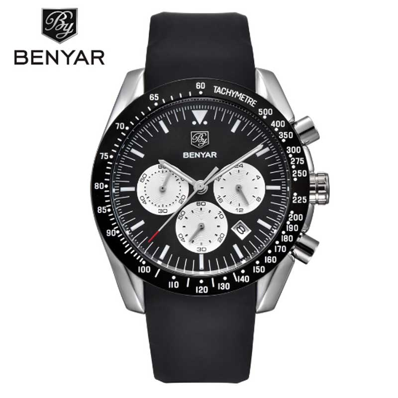 BENYAR mens watch top brand luxury silicone sports  leisure time waterproof multi-function watch quartz watch mens watchBENYAR mens watch top brand luxury silicone sports  leisure time waterproof multi-function watch quartz watch mens watch
