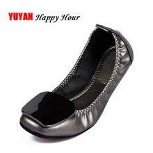 Zapatos de barco de talla grande para mujer, zapatillas planas ostentosas, de marca, suaves y cómodas, para oficina, A067