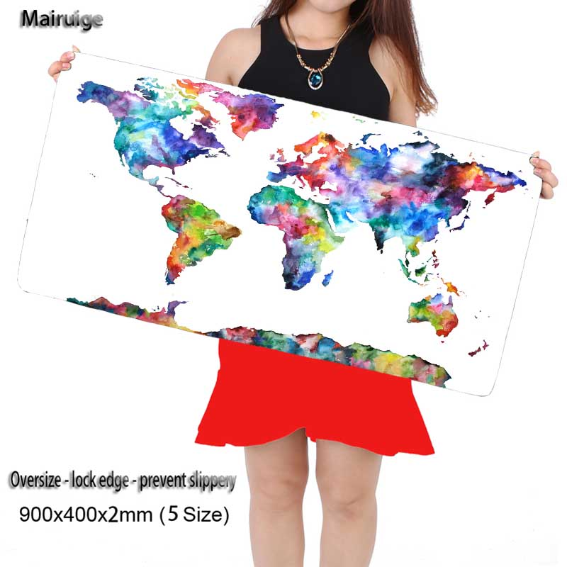 Mairuige Shop Watercolor Map MousePad Rubber Pad Mouse Mat Desk Pad Keyboard Pad for Dota CS Go League of Legends  Locking Edge