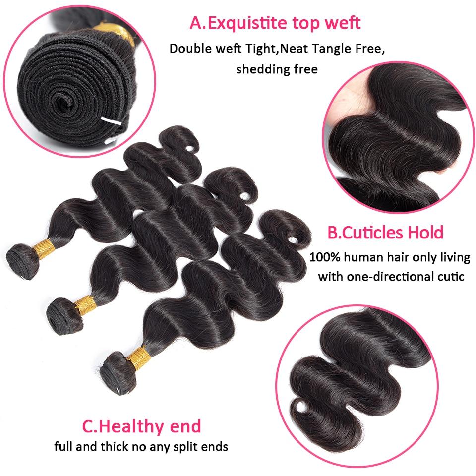 Fröken Rola Hair Pre-Colored Brazilian Non-Remy Hair Body Wave 3 - Mänskligt hår (svart) - Foto 3
