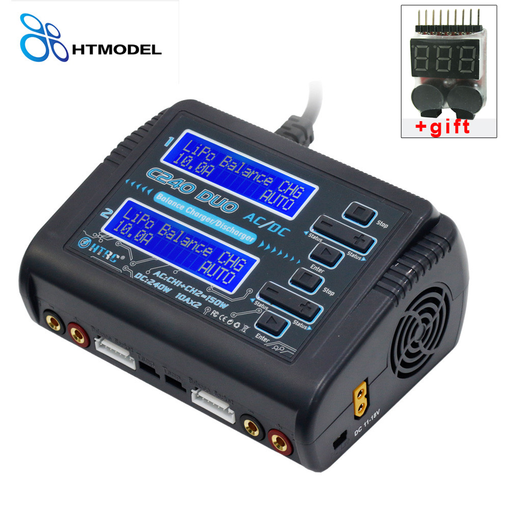 HTRC LiPo LiHV LiFe Lilon NiCd NiMh Pb Battery Charger C240 DUO AC 150W /DC 240W Dual Channel 10A RC Balance Charger Discharger skyrc d100 charger twin channel ac dc lipo 1 6s 2x100w dual balance charger discharger lipo life li ion nimh pb battery