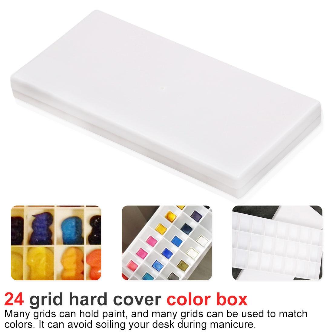 24 Grid Rectangle Palette Folding Painting Watercolor Art Tool Art Palette Paint Acrylic Paint Flip Lid Paint Box Watercolor