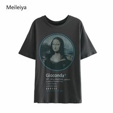 2019 Summer Womens Tshirt New Characters Mona Lisa Printed Short-sleeved T-shirt Women