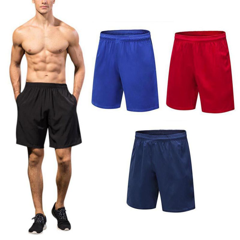 New Men's Basketball Running Shorts Comfortable Quick-drying Breathable Solid Color Elastic Band Outdoor Sportswear