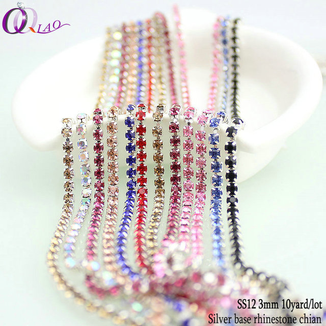 Big discount 10yards lot boutique ss12(3mm) fashion findings multi color  copper close silver base glitter DIY rhinestone chains b5d486bfb603