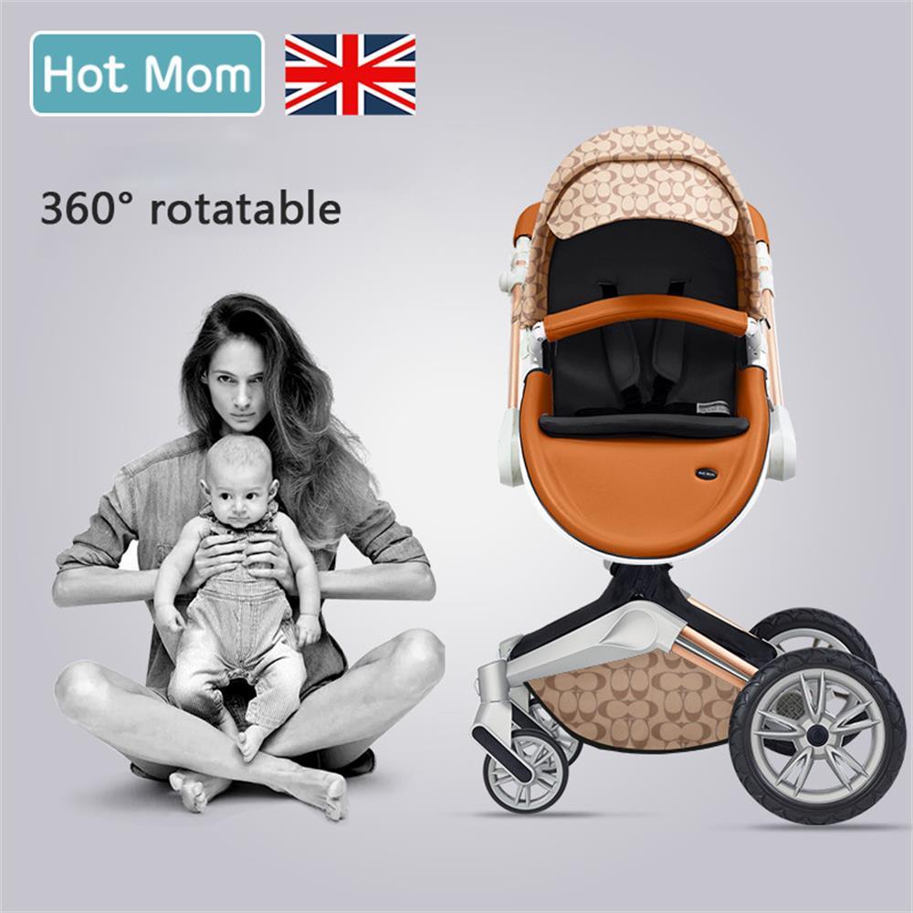 Gratis verzending Hot Mom 2 in 1 Luxe Kinderwagen twee-weg Pasgeboren vervoer Hoge Landschap Baby Kinderwagen Licht folding PU Materiaal 3