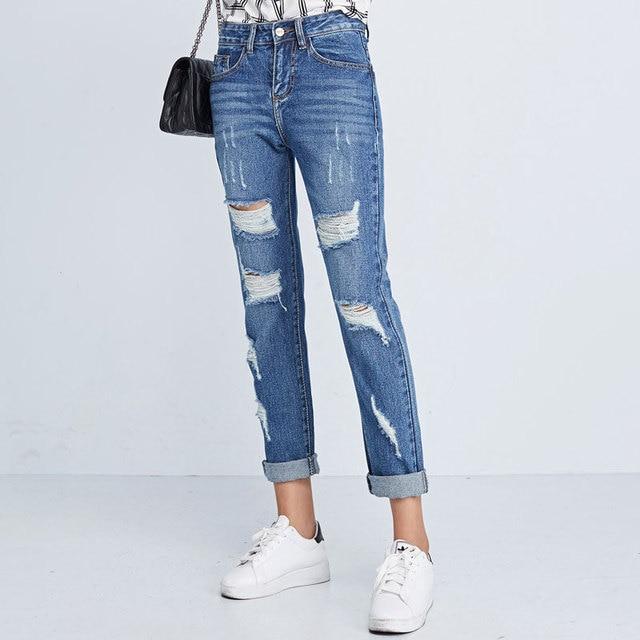 37e6d4c2f2 US $38.8 |Primavera A Vita Alta pantaloni Larghi Pantaloni Gamba Larga  Donne di Grandi Dimensioni Jeans Donna Boyfriend Jeans Per Le Donne Jeans  ...