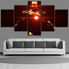 Artwork Movie The Avengers Poster Wall Art Decor Modular Framework 5 Panel Iron Man Canvas Painting For Kids Room Picture