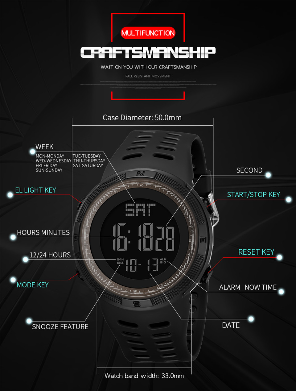 Sports Electronic Watches Men Countdown Double Time Watch Alarm Chrono Digital Wristwatches 50M Waterproof Outdoor Running Watch (4)