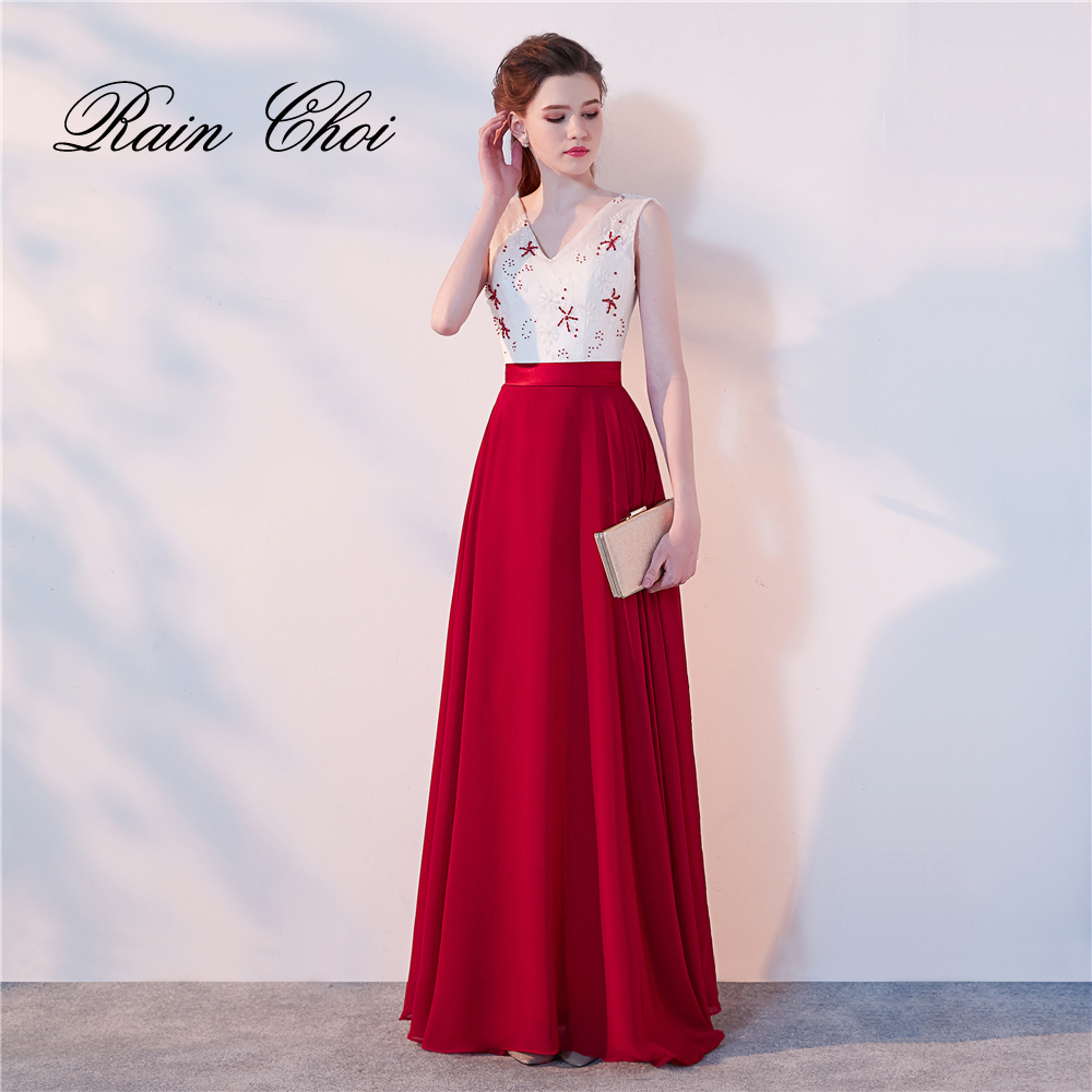 Long Evening Dresses 2018 Robe De Soiree Beading Elegant Formal Gowns Floor-length Party Prom Dress