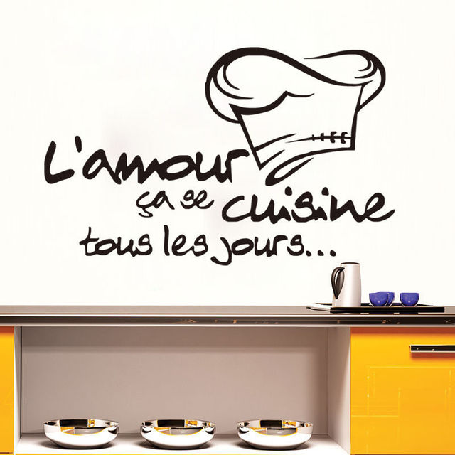 French Quotes Vinyl Wall Stickers Calligraphy Font Cuisine Decals Home  Decor Art Kitchen Wall Decal Removable