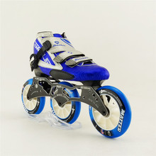 Adults/Child Professional speed skating shoes carbon fiber red/blue inline skate boots 3 wheels modells roller shoes