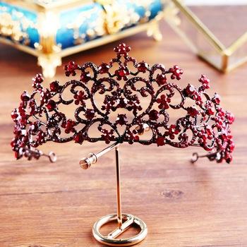 Barokowy wysokiej klasy czerwona korona ślubna butikowe opaski na głowę ślubna tiara ślubna biżuteria do włosów hurtowych tanie i dobre opinie SexeMara Ze stopu cynku PLANT TRENDY Tiary Hairwear Moda Kryształ alloy Ladies HQ-67 An crown Electroplate hair crystal