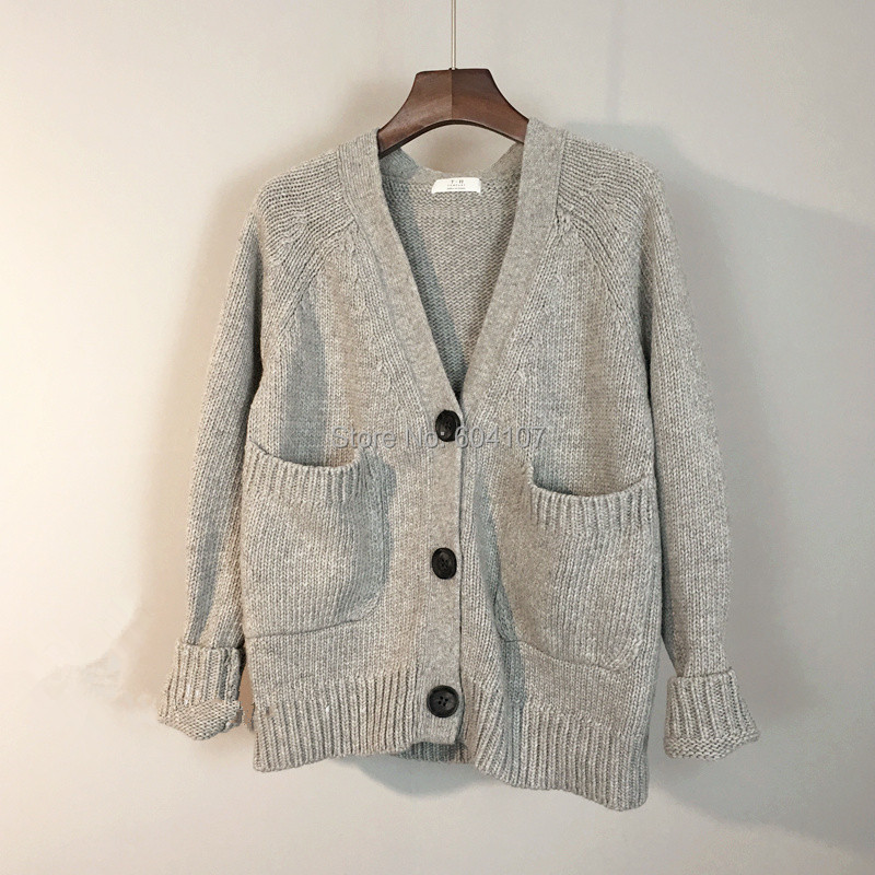 Women's Knit Classic Cardigans Chunky Sweater Coat 3 Buttons Long ...