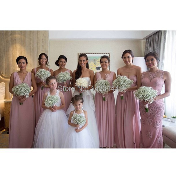 Pink Lace Wedding Guest Dress : Rose pink floor length style chiffon bridesmaid dresses