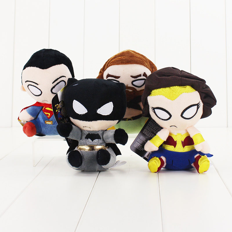 4PCS/set Q version Super Heroes Plush Toys The Superman Batman The Wonder woman Aquaman Lovely childrens toy dolls