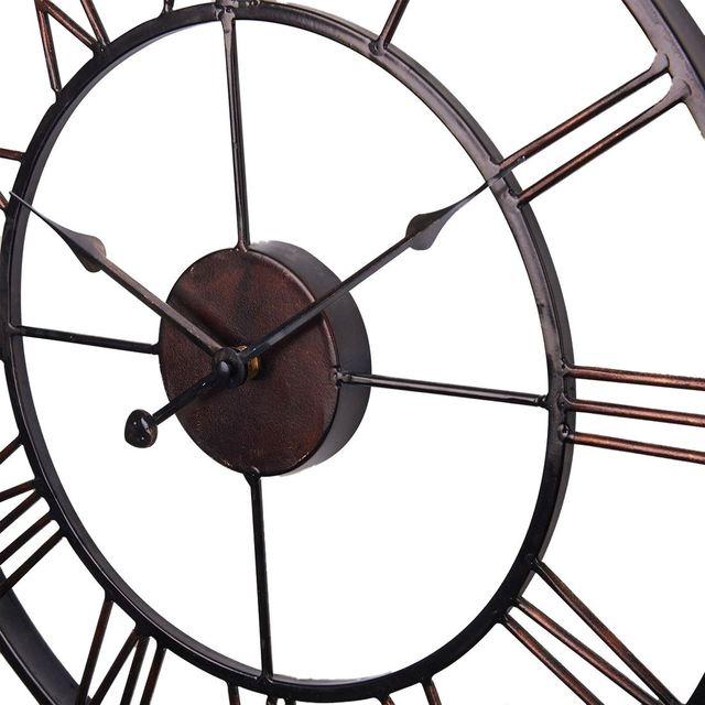 Горячая Распродажа очень большие винтажные стильные металлические настенные часы в стиле кантри шоколадный цвет