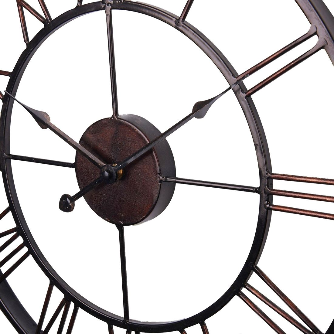 Hot Sale Extra Large Vintage Style Statement Metal Wall Clock Country Style - Chocolate color