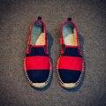 Top Primavera y Otoño Zapatos de Lona de Los Hombres Casuales Zapatos De Paja alta Calidad Pisos Hombres de La Marca de Moda Los Estudiantes Zapatos Rojo Negro XZ19