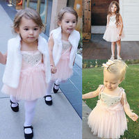 Summer Dress 2016 Wholesale Dropshipping Baby Girls Sequins Flower Lace Tulle Party Bridesmaid Ball Gown Sling