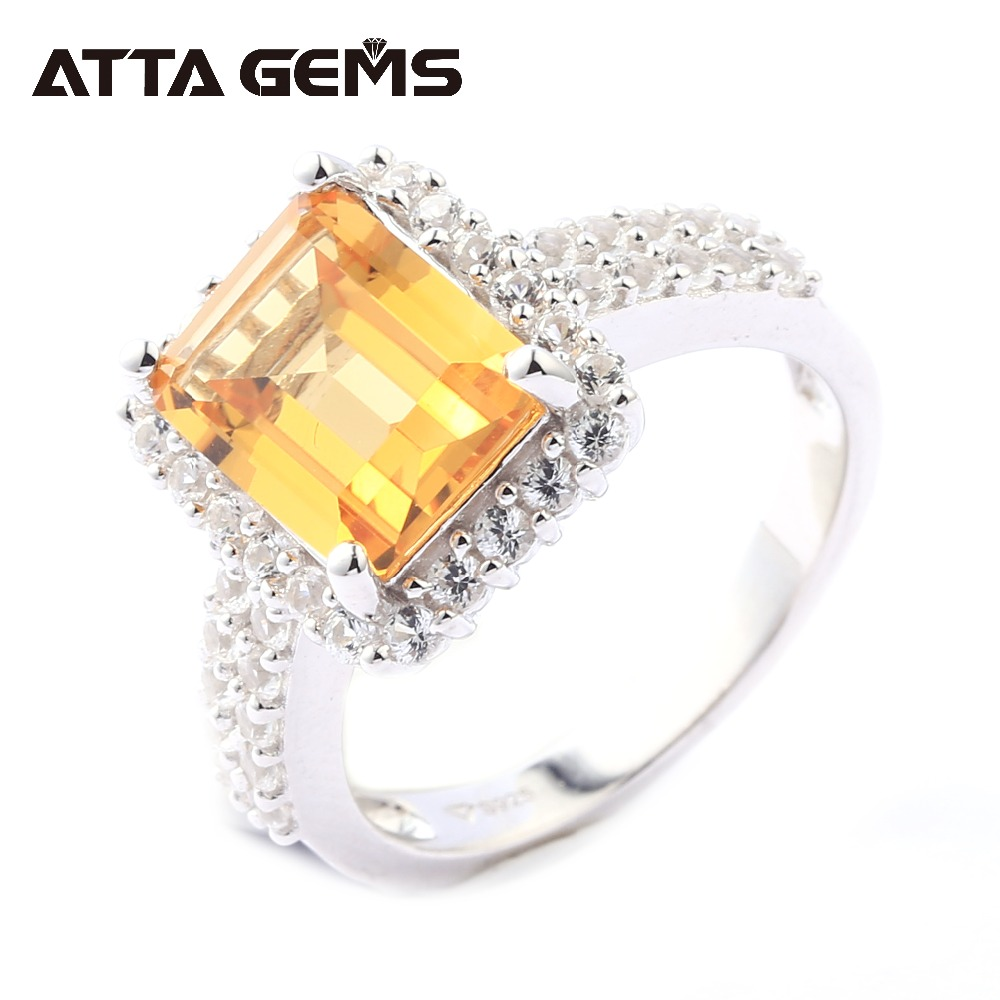 Natural Citrine Sterling Silver Ring Women Wedding All Clean 5 Carats Natural Citrine Crystal Exquisite Style