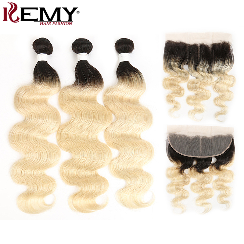 Ombre Blonde Bundles With Frontal KEMY HAIR Brazilian Body Wave Bundles With Closure Non Remy Hair