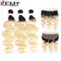 Cheveux blonds Ombre avec cheveux KEMY frontaux paquets brésiliens de vague de corps avec fermeture cheveux non-remy tisse 3/4 PCS paquets de cheveux