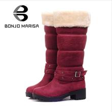 BONJOMARISA Big Size 34-43 Fashion Buckle Warm Snow Boots With Fur Woman Winter Shoes Half Add Fur Boots Women Short Fur Shoes
