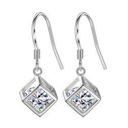 Luxury cubic zirconia Silver Drop Earrings Cube love window boxes ear hook girls ladies silver jewelry simple fashion brand