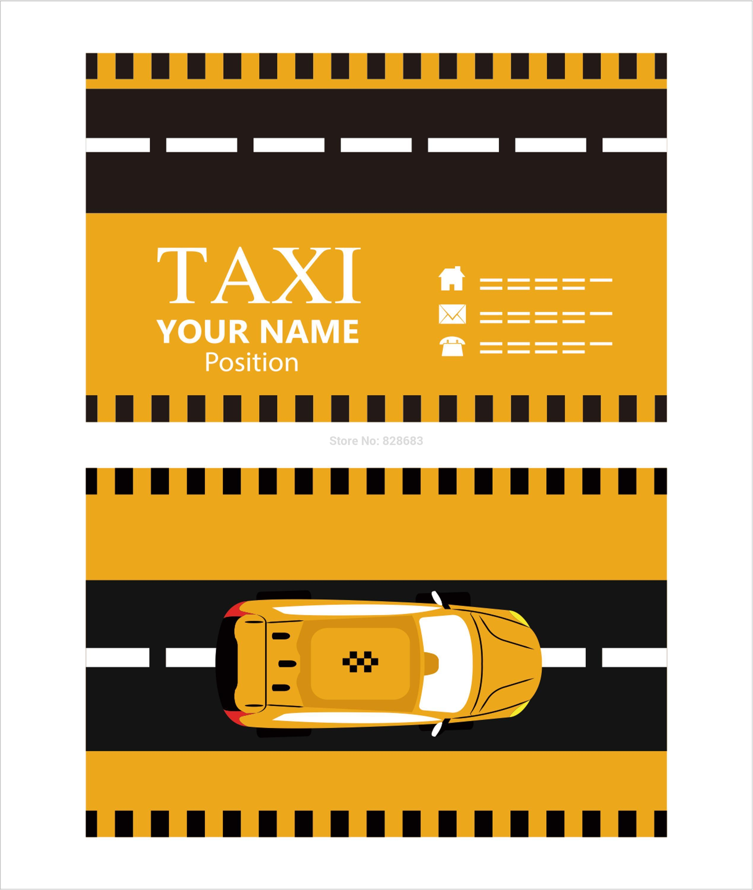 paper card template for taxi 300gsm with matte face yellow and black background