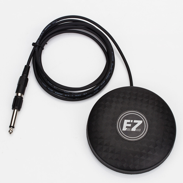 Black EZ Pro-design Solid Foot Switch With RCA 6.35 Mm Connect Adapter For Normal Tattoo Power Supply